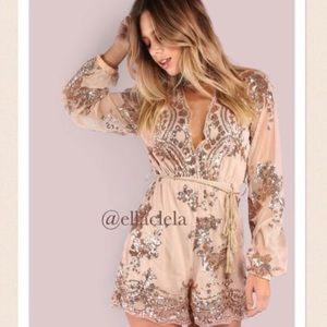 Rose Gold Sheer Romper Sequin Party Outfit